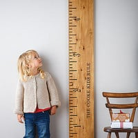 'Kids Rule' Wooden Ruler Height Chart Mid Oak