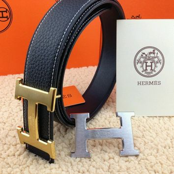 @New Authentic Hermes Men's Belt 38mm Black Buckle Double 2H Gold-Silver 110cm