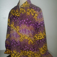 11-1226 Vintage 70s Women's Pointy Collar Blouse / Purple Floral Poly Blouse / Bohemian Disco Style