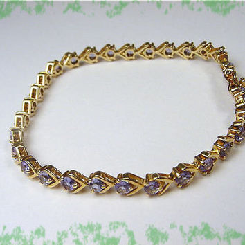 Tanzanite ~ 14K Gold V Prong Set 4.50 Plus Cts Tennis Bracelet ~ Newport RI Estate