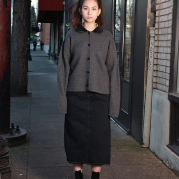 Gray Wool Sweater Jacket / XL