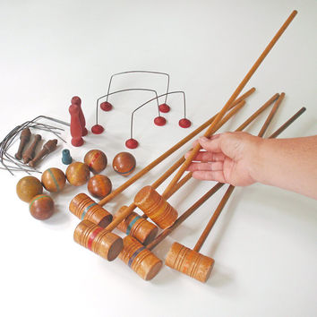 Vintage Miniature Croquet Set Tabletop