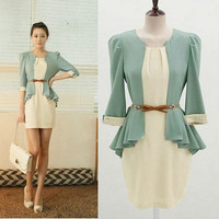 Peplum Belted Dress