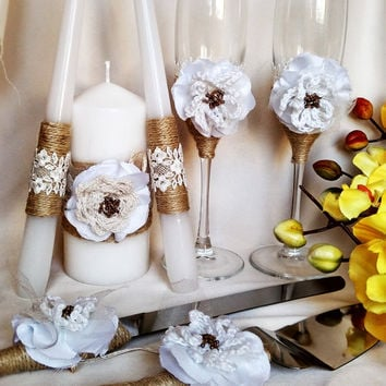 FREE SHIPPING White Rustic Chic Wedding glasses & cake knife set? weddingunity candle with rope Rustic wedding country rustic chic Set of 7