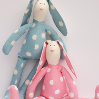 Stuffed bunny rabbit hare TWO bunnies child friendly toy plush rabbit bunny doll softie stuffed toy hare - gift for children