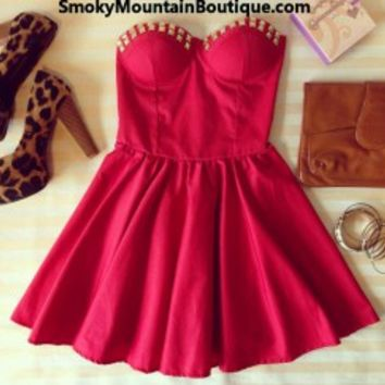 Sexy Red Bustier Dress with Studs and with Adjustable Straps - Size XS/S/M - Smoky Mountain Boutique