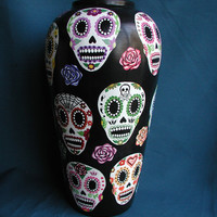 Day of the Dead Sugar Skulls & Roses Handpainted Dia de los Muertos Ceramic Vase Made to Order