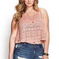 FOREVER 21 PLUS Linen-Blend Crochet Lace Tank