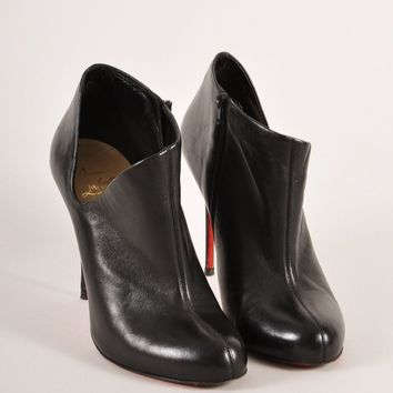 KUYOU Black Leather Low Cut Ankle Stiletto Booties