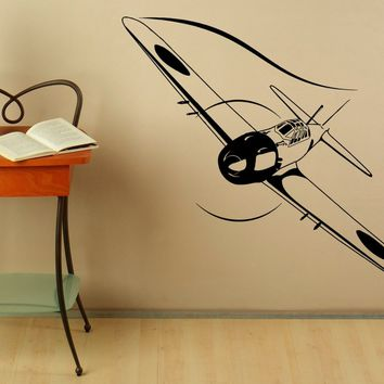 Biplane Wall Vinyl Decal Japanese Air Force Stickers Aviation Plane Interior Housewares Design Aircraft Bedroom Home Decor Made in US