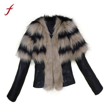 Female Faux fur Elegant Fashion Coat Winter Women Fur Collar Coat Leather Jacket Overcoat Parka Winter Outwear Warm plus size