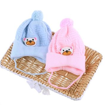 1PC Winter Baby Boys Girls Soft Cap Crochet Lovely Bear Beanies Hat Toddlers 0-6 Months Baby Accessories