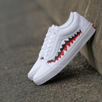 auguau Vans X Bape Sharktooth Custom White