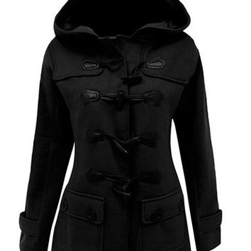 Horn Button Hooded Long Sleeve Coat