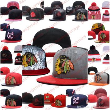 57ab3d3cd2657 Chicago Blackhawks Snapback Caps Embroidery Ice Hockey Knit Bean