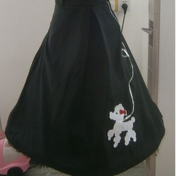 Free shipping Vintage inspired 50's swing skirt Black white poodle circle skirt 50s rockabilly M , L ,XL