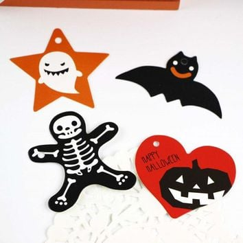 50 Pcs/set Creative Halloween pumpkin paper labels packaging party gift tags trick or treat candy decoration