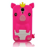 niceeshop(TM) Hot Pink 3D Happy Crown Pig Soft Silicone Gel Case Cover for Samsung Galaxy S4 i9500 + Screen Protector
