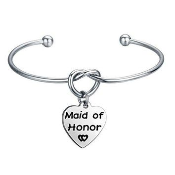 ENSIANTH Maid of Honor Bracelet Love Knot Bangle Adjustable Tie The Knot Cuff Bangle Wedding Jewelry
