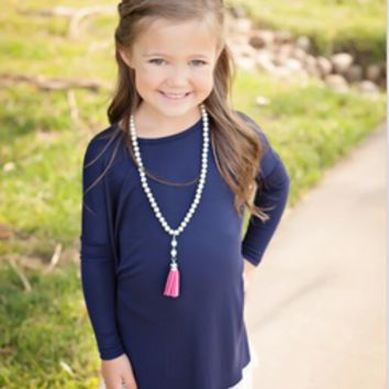 Girls Lace Hem Tunic Navy