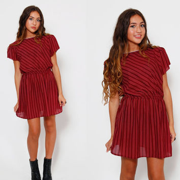 Vintage 70s STRIPED Mini Dress MAROON Secretary Mini Dress Short Sleeve Blouson HIPSTER Dress