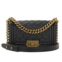 Chanel Black Quilted Caviar Small Boy Bag Gold Hardware