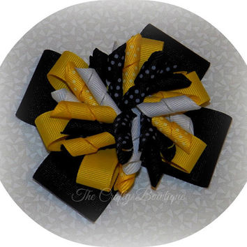 Black & Yellow Layered Korker Bow, Bumble Bee Bow, Polka Dot Hair Bow, Big Fancy Bow, Summer Hair Bow, Girls Hair Bow, Bow for Headbands