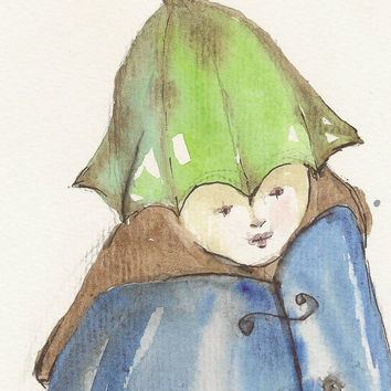 Fairytale,  Original watercolor painting art, Surreal Aquarelle Figure children fantasyartwork
