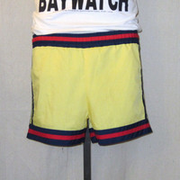 Vintage 80s SURF BEACH Casual Medium Large Yellow Trimed Waist Ties Unisex Stylish Hip SHORTS