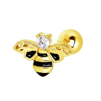 Yellow Gold Plated Jeweled Bumblebee WildKlass Cartilage Earring