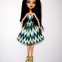 Handmade Monster High Dress Clothes Strapless Swirl