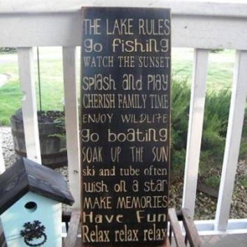 Cabin, Cottage or Lake Vintage  Rules Sign Typography  subway sign