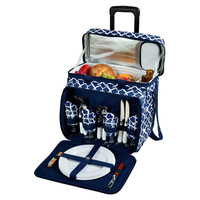 Wheeled Picnic Cooler for 4, Blue, Acrylic / Lucite, Coolers & Thermal Bags