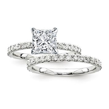 Certified 2.70 Ct. Princess Diamond Bridal Engagement Ring Set with Side Stones in 14K White Gold
