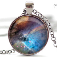 Nebula Necklace, Space Galaxy Art Pendant,  Nebula Jewelry, Universe Stars Gift for Him or for Her (314)