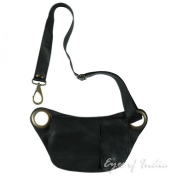 Black Leather Hip Waist Belt Bag Pouch Pocket Purse