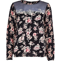 River Island Womens Navy floral sheer yoke victoriana blouse