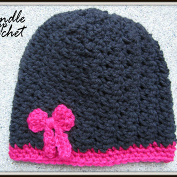 Baby Crochet Hat Baby Girl Beanie Newborn Crochet Toddler with Bow