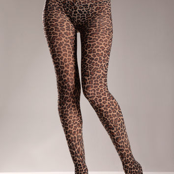 Nylon Leopard Tights