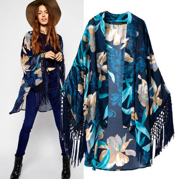 Stylish Print Tassels Scarf Tops Women's Fashion Jacket [5013130884]