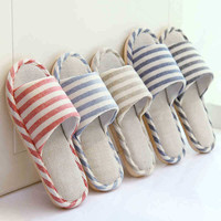 Anti-skid Thick Crust Cotton Korean Linen Home Couple Slippers [9067738116]
