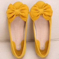 Slip On Low Top Bow Ballet Flat Shoes