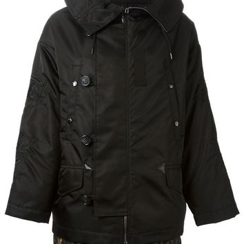 Moncler Y zipped and button down fastening padded lining hooded jacket
