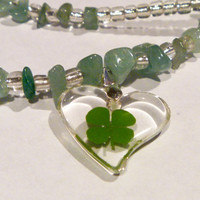 Lucky Four Leaf Clover Necklace - beaded glass & aventurine necklace w/ resin heart pendant encasing REAL fourleaf clover