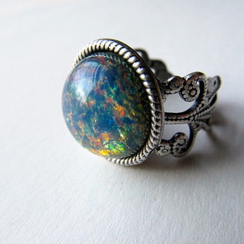 Fire Opal Ring Silver Ring Art Nouveau Ring Blue Opal Ring Filigree Ring Sterling Opal Ring- Old Blue Eyes