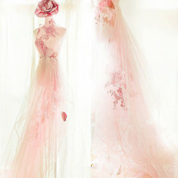 Peacock and peonies Wedding Dress / Oriental /Sally F.Li /light pink