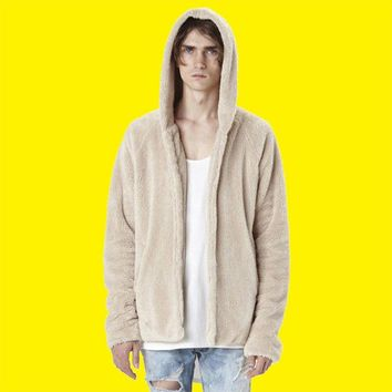 New 2018 Sherpa Hoodie Streetwear Kanye West Clothing Fashion Hip Hop Skateboard Urban Clothes Swag Men Hoodies Hooded Cardigan