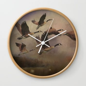 Wild Geese at Dawn Wall Clock by Theresa Campbell D'August Art