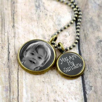 Custom Photo You are My Sunshine Quote Necklace
