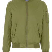 Khaki Nylon Camo Lined Bomber - Sale Tops -Sale- Sale & Special Offers - TOPMAN